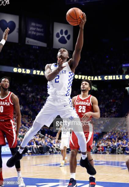 Jarred Vanderbilt of the Kentucky Wildcats shoots the ball against the Alabama Crimson Tide at Rupp Arena on February 17 2018 in Lexington Kentucky
