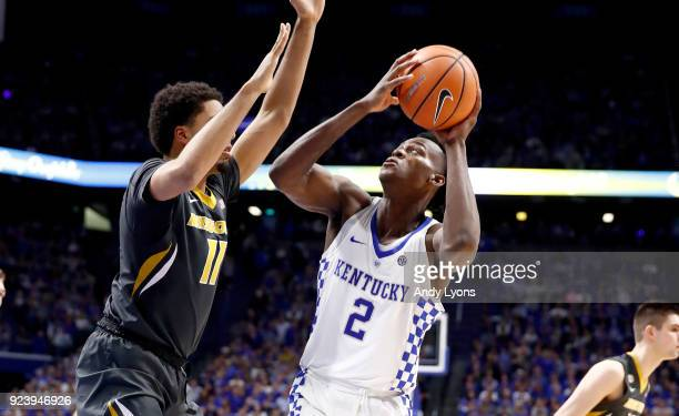 Jarred Vanderbilt of the Kentucky Wildcats shoots the ball against the Missouri Tigers at Rupp Arena on February 24 2018 in Lexington Kentucky