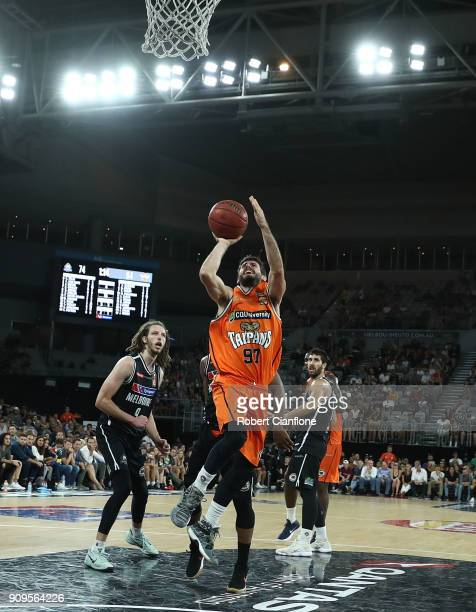 Jarred Weeks of the Cairns Taipans attempts a shot during the round 14 NBL match between Melbourne United and the Cairns Taipans at Hisense Arena on...