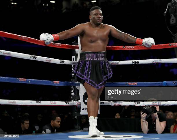 Jarrell Big Baby Miller of the United States waits in a corner during a stop in the bout against Johann Duhaupas of France during their WBA...