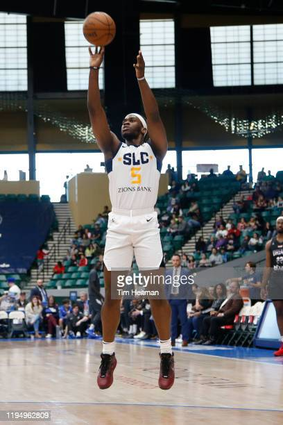 Jarrell Brantley of the Salt Lake City Stars shoots the ball during the first quarter against the Texas Legends on January 20 2020 at Comerica Center...