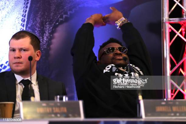 Jarrell Miller and Dmitry Salita during an Anthony Joshua and Jarrell Miller Press Conference ahead of their fight in June 2019 for the IBF WBA and...
