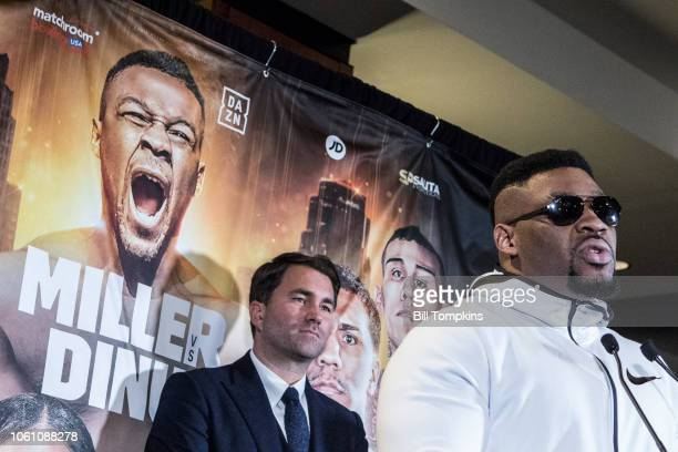 Jarrell Miller announces his upcoming Heavyweight fight against Bogdan Dinu during the press conference at Madison Square Garden on October 27 2018...