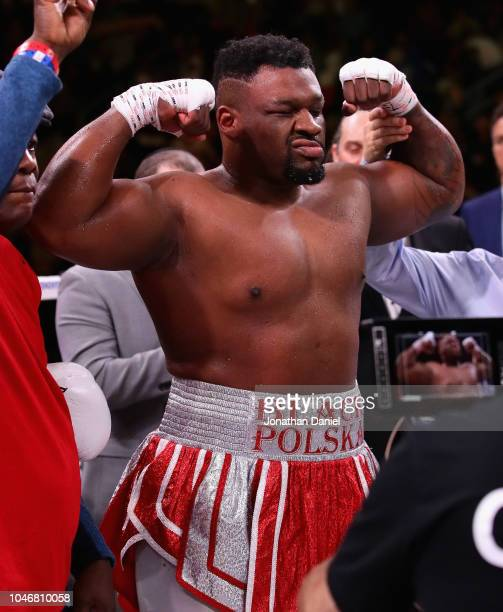 Jarrell Miller celebrates a second round knock out of Tomasz Adamek in a Heavyweight contest at Wintrust Arena on October 6 2018 in Chicago Illinois