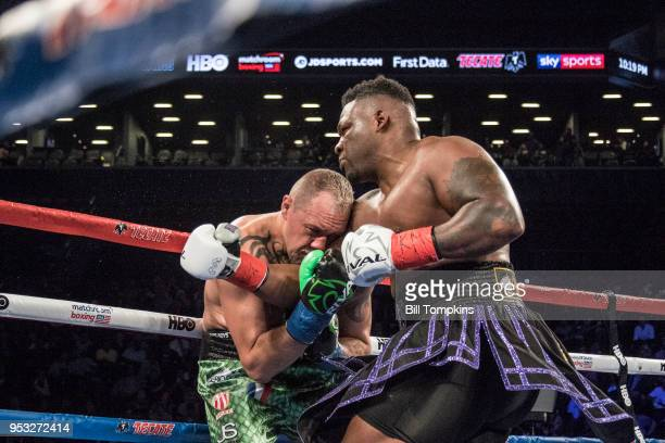 Jarrell Miller defeats Johann Duhaupas by Unanimous Decsion in their Heavyweight fight at the Barclays Center on April 28 2018 in the Brooklyn...