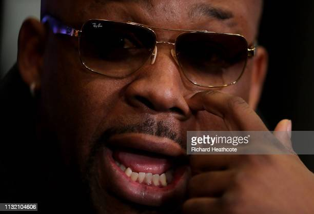 Jarrell Miller during an Anthony Joshua and Jarrell Miller Press Conference ahead of their fight in June 2019 for the IBF WBA and WBO heavyweight...