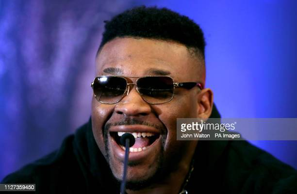 Jarrell Miller during the press conference at Hilton London Syon Park
