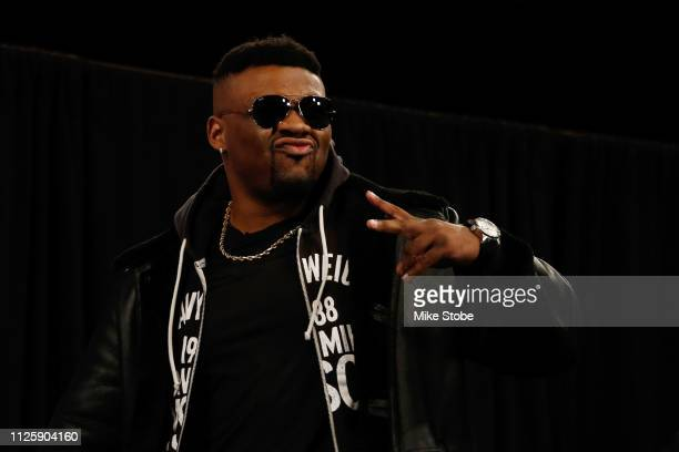 Jarrell Miller is introduced prior to a press conference at Madison Square Garden on February 19 2019 in New York City