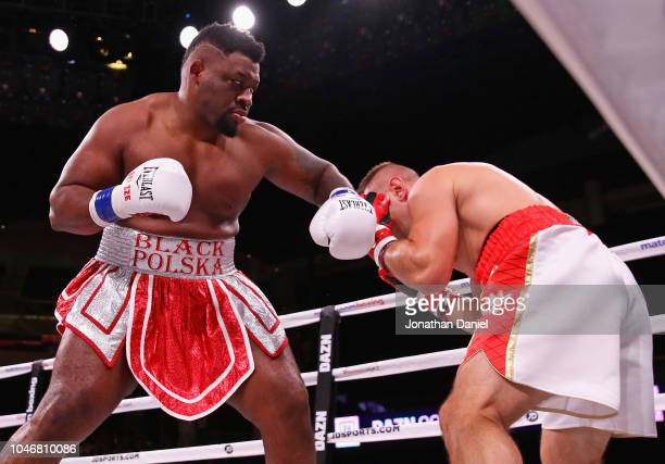 Jarrell Miller lands a punch against Tomasz Adamek in a Heavyweight contest at Wintrust Arena on October 6 2018 in Chicago Illinois