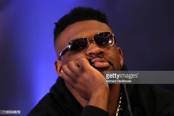 Jarrell Miller reacts during an Anthony Joshua and Jarrell Miller Press Conference ahead of their fight in June 2019 for the IBF WBA and WBO...