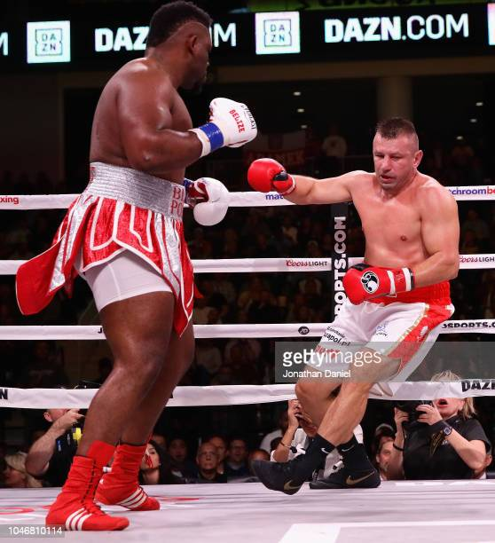 Jarrell Miller sends Tomasz Adamek staggering in a Heavyweight contest at Wintrust Arena on October 6 2018 in Chicago Illinois