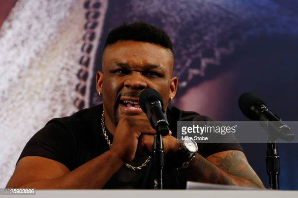 Jarrell Miller speaks to the media during a press conference at Madison Square Garden on February 19 2019 in New York City