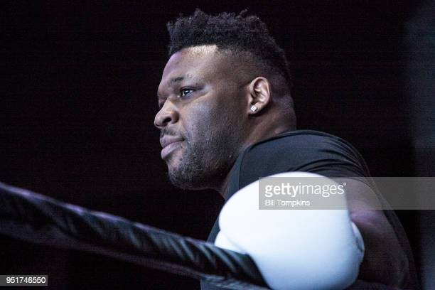 Jarrell Miller works out and speaks to the media at Barclays Center on April 25 2018 in New York City
