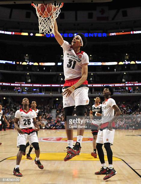 Jarret Allen of the West team dunks against the East team during the 2016 McDonalds's All American Game on March 30, 2016 at the United Center in...