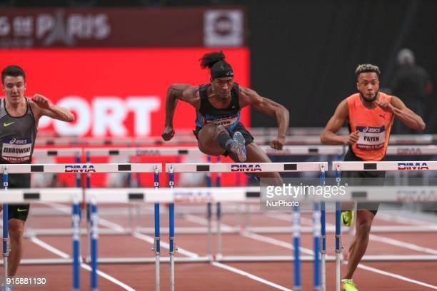 Jarret Eaton of USA competes in 60m Hurdles during the Athletics Indoor Meeting of Paris 2018 at AccorHotels Arena in Paris France on February 7 2018