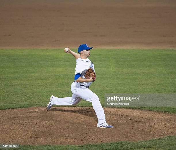 Jarret Martin of the Rockland Boulders delivers a pitch against the Cuban National Team at Palisades Credit Union Park on June 24, 2016 in Pomona,...