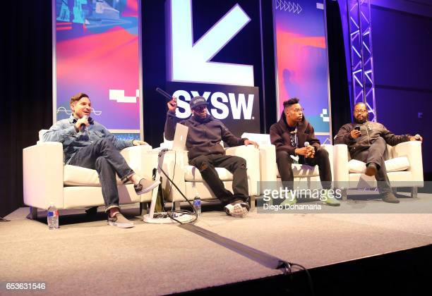 Jarret Myer of UPROXX Talib Kweli of Javotti Media musician Christian Scott aTunde Adjuah and record producer Om'Mas Keith speak onstage at 'The Jazz...