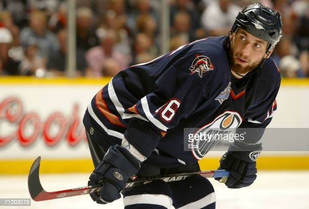 Jarret Stoll of the Edmonton Oilers prepares for play against the Carolina Hurricanes during game four of the 2006 NHL Stanley Cup Finals on June 12...