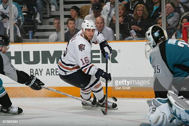 Jarret Stoll of the Edmonton Oilers skates during Game 2 of the Western Conference Semifinals against the San Jose Sharks on May 8, 2006 at the HP...