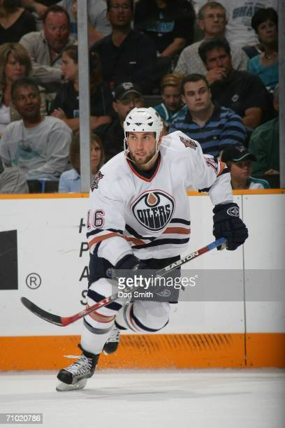 Jarret Stoll of the Edmonton Oilers skates during game five of the Western Conference Semifinals against the San Jose Sharks on May 14 2006 at the HP...