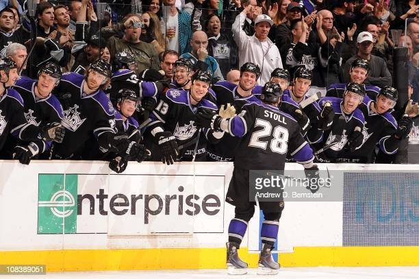 Jarret Stoll of the Los Angeles Kings celebrates his came winning goal in a 32 shoot out against the San Jose Sharks during the game at Staples...