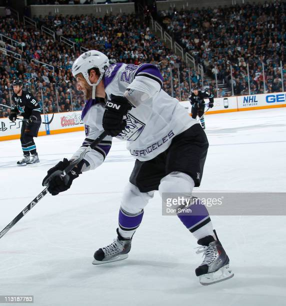 Jarret Stoll of the Los Angeles Kings passes the puck against the San Jose Sharks in Game 5 of the Western Conference Quarterfinals during the NHL...