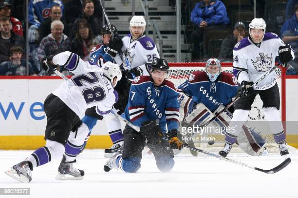 Jarret Stoll of the Los Angeles Kings scores a goal against the Colorado Avalanche at the Pepsi Center on March 24 2010 in Denver Colorado The Kings...