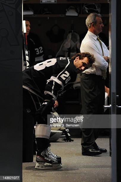 Jarret Stoll of the Los Angeles Kings stands in the locker room prior to the game against the Vancouver Canucks in Game Four of the Western...