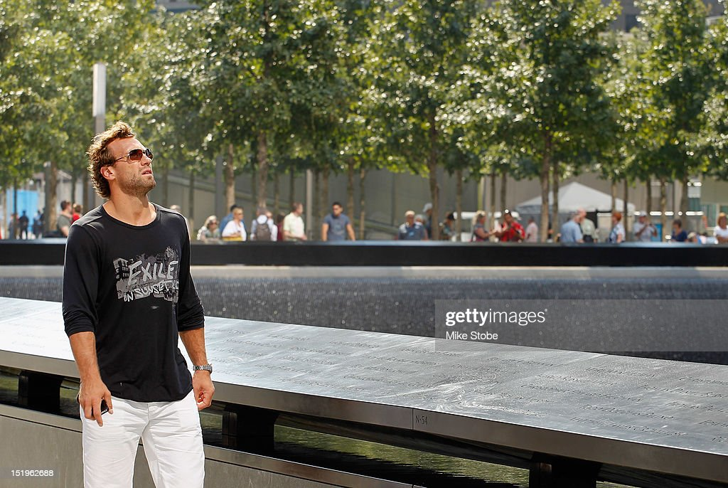 Jarret Stoll of the Los Angeles Kings tours the 9/11 Memorial in lower Manhattan at the World Trade Center site on September 13, 2012 in New York City.The Los Angeles Kings marked the loss of Garnet 'Ace' Bailey, the Kings' director of pro scouting, and amateur scout Mark Bavis when hijackers took control of their scheduled Boston-to-Los Angeles flight and crashed the plane into the south tower of New York's World Trade Center.