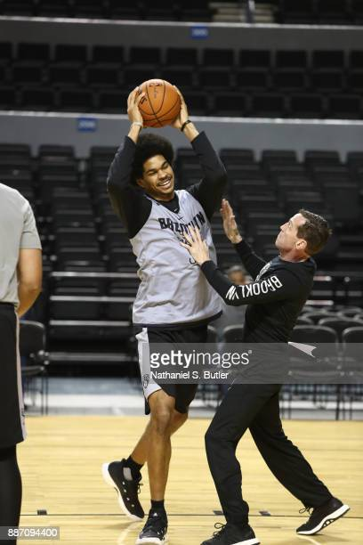 Jarrett Allen and Head Coach Kenny Atkinson of the Brooklyn Nets during practice as part of the NBA Mexico Games 2017 on December 6 2017 at the Arena...