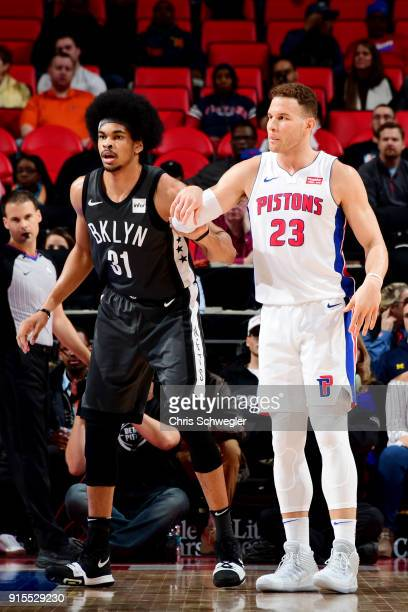 Jarrett Allen of the Brooklyn Nets and Blake Griffin of the Detroit Pistons defend each other during the game between the two teams on February 7...