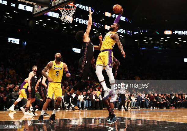 Jarrett Allen of the Brooklyn Nets blocks the shot of LeBron James of the Los Angeles Lakers during their game at the Barclays Center on December 18...