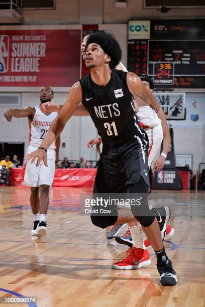 Jarrett Allen of the Brooklyn Nets defends against the Houston Rockets during the 2018 Las Vegas Summer League on July 11 2018 at the Cox Pavilion in...