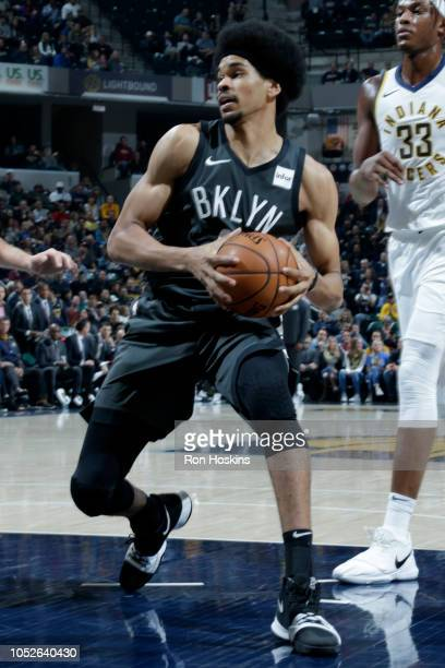 Jarrett Allen of the Brooklyn Nets drives to the basket against the Indiana Pacers during a game on October 20 2018 at Bankers Life Fieldhouse in...