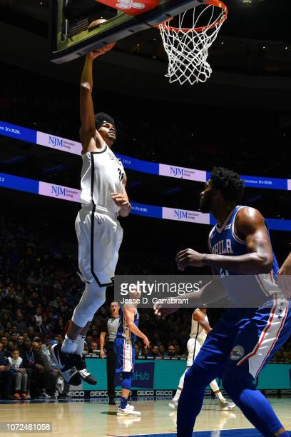 Jarrett Allen of the Brooklyn Nets drives to the basket against the Philadelphia 76ers on December 12, 2018 at the Wells Fargo Center in...