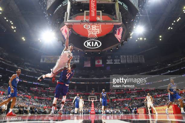 Jarrett Allen of the Brooklyn Nets drives to the basket during the game against JaMychal Green of the LA Clippers on March 17 2019 at STAPLES Center...