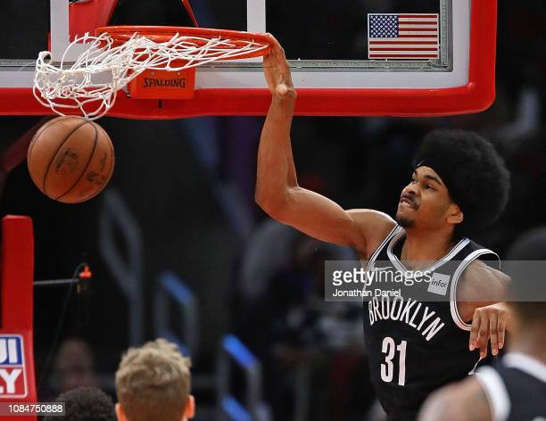 Jarrett Allen of the Brooklyn Nets dunks against the Chicago Bulls at the United Center on December 19, 2018 in Chicago, Illinois. NOTE TO USER: User...