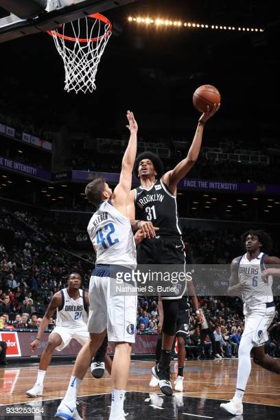 Jarrett Allen of the Brooklyn Nets dunks against the Dallas Mavericks on March 17 2018 at Barclays Center in Brooklyn New York NOTE TO USER User...
