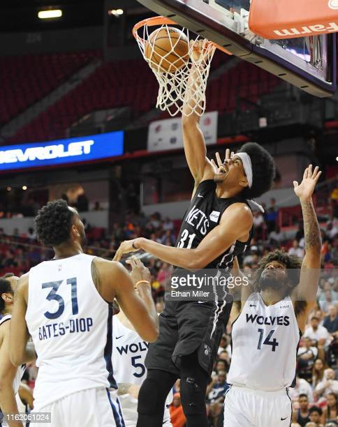 Jarrett Allen of the Brooklyn Nets dunks against the Minnesota Timberwolves during a semifinal game of the 2019 NBA Summer League at the Thomas &...