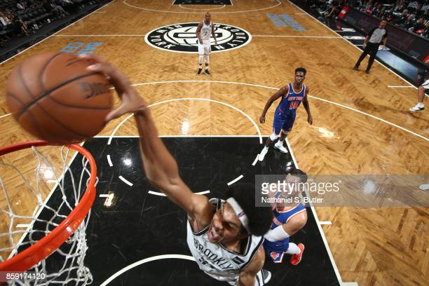 Jarrett Allen of the Brooklyn Nets dunks against the New York Knicks during a preseason game on October 8 2017 at Barclays Center in Brooklyn New...