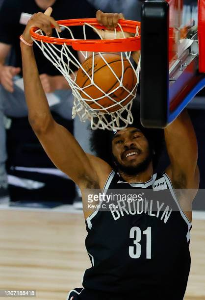 Jarrett Allen of the Brooklyn Nets dunks against the Toronto Raptors during the second quarter in Game Two of the Eastern Conference First Round...