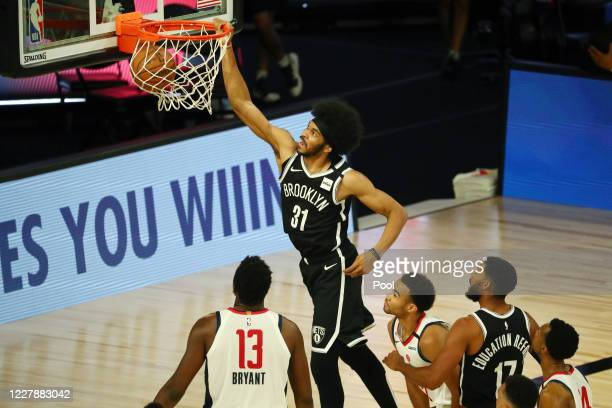 Jarrett Allen of the Brooklyn Nets dunks against the Washington Wizards in the first half of a NBA basketball game at HP Field House at ESPN Wide...