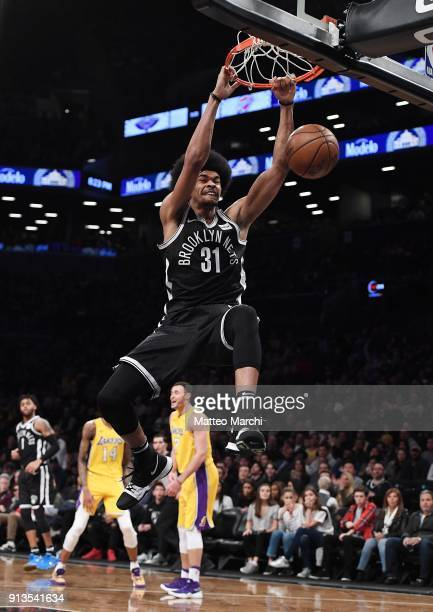 Jarrett Allen of the Brooklyn Nets dunks the ball against Larry Nance Jr #7 of the Los Angeles Lakers during the game at Barclays Center on February...