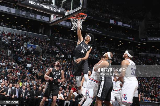Jarrett Allen of the Brooklyn Nets dunks the ball against the Philadelphia 76ers during Game Four of Round One of the 2019 NBA Playoffs on April 20...