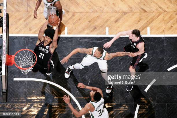 Jarrett Allen of the Brooklyn Nets dunks the ball against the Milwaukee Bucks on February 4 2019 at Barclays Center in Brooklyn New York NOTE TO USER...