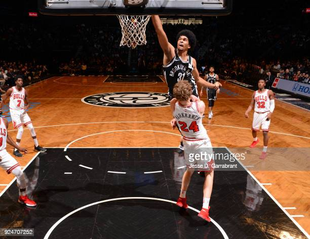 Jarrett Allen of the Brooklyn Nets dunks the ball against the Chicago Bulls on February 262018 at Barclays Center in Brooklyn New York on Drazen...