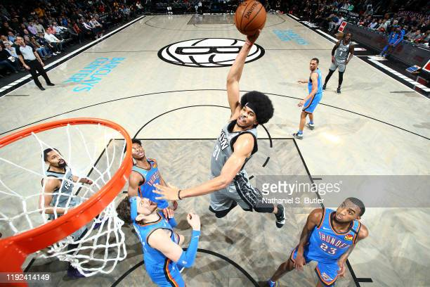 Jarrett Allen of the Brooklyn Nets dunks the ball against the Oklahoma City Thunder on January 7, 2020 at Barclays Center in Brooklyn, New York. NOTE...