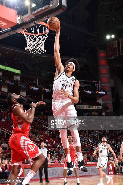Jarrett Allen of the Brooklyn Nets dunks the ball against the Houston Rockets on January 16 2019 at the Toyota Center in Houston Texas NOTE TO USER...