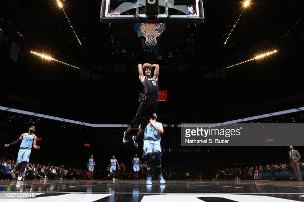 Jarrett Allen of the Brooklyn Nets dunks the ball against the Memphis Grizzlies on November 30 2018 at the Barclays Center in Brooklyn New York NOTE...