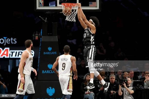 Jarrett Allen of the Brooklyn Nets dunks the ball against the New Orleans Pelicans during their game at Barclays Center on February 10 2018 in the...